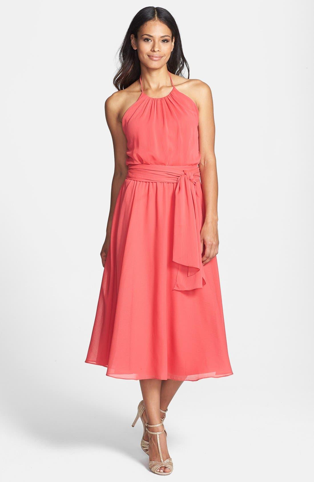 Main Image - Isaac Mizrahi New York Belted Chiffon Halter Dress