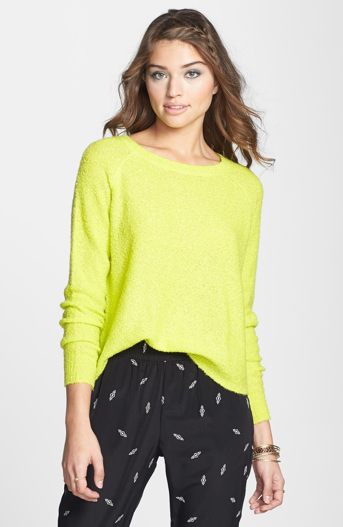 'Grunge' Textured Sweater,                         Main,                         color, Lime Soda