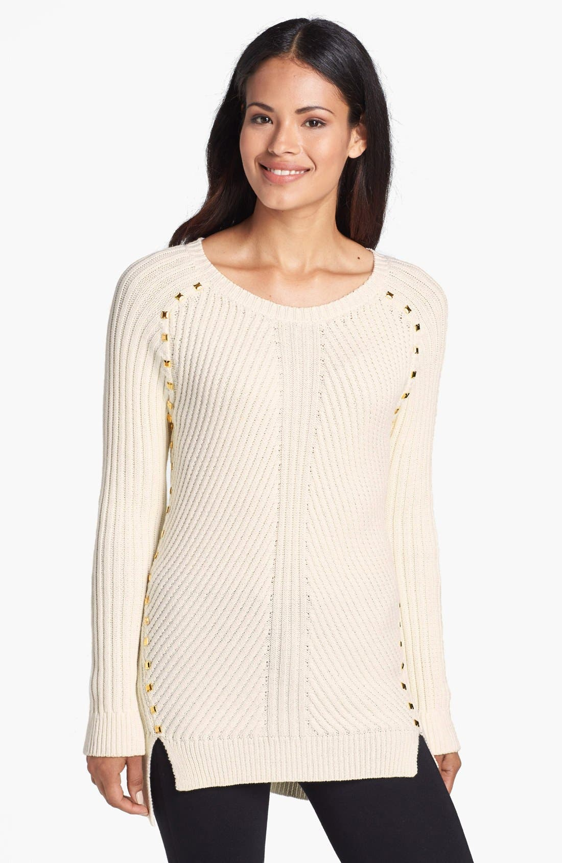 Main Image - MICHAEL Michael Kors Studded Trim Ribbed Sweater