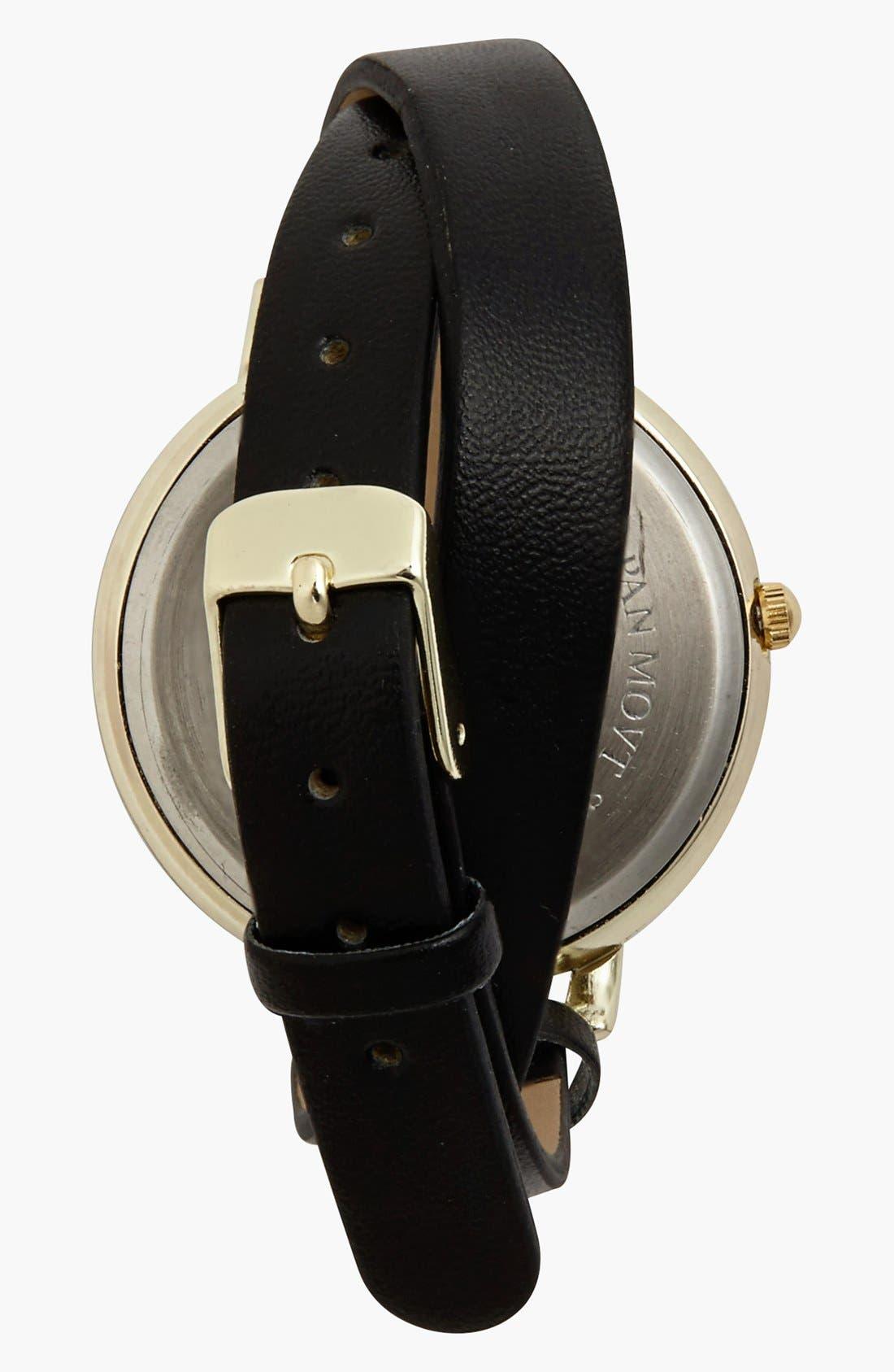 Alternate Image 2  - Titanium Leopard Face Double Wrap Watch, 45mm (Juniors)