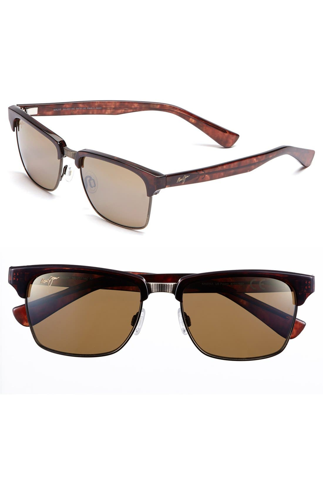 'Kawika - PolarizedPlus<sup>®</sup>2' 54mm Sunglasses,                         Main,                         color, Tortoise/ Gold