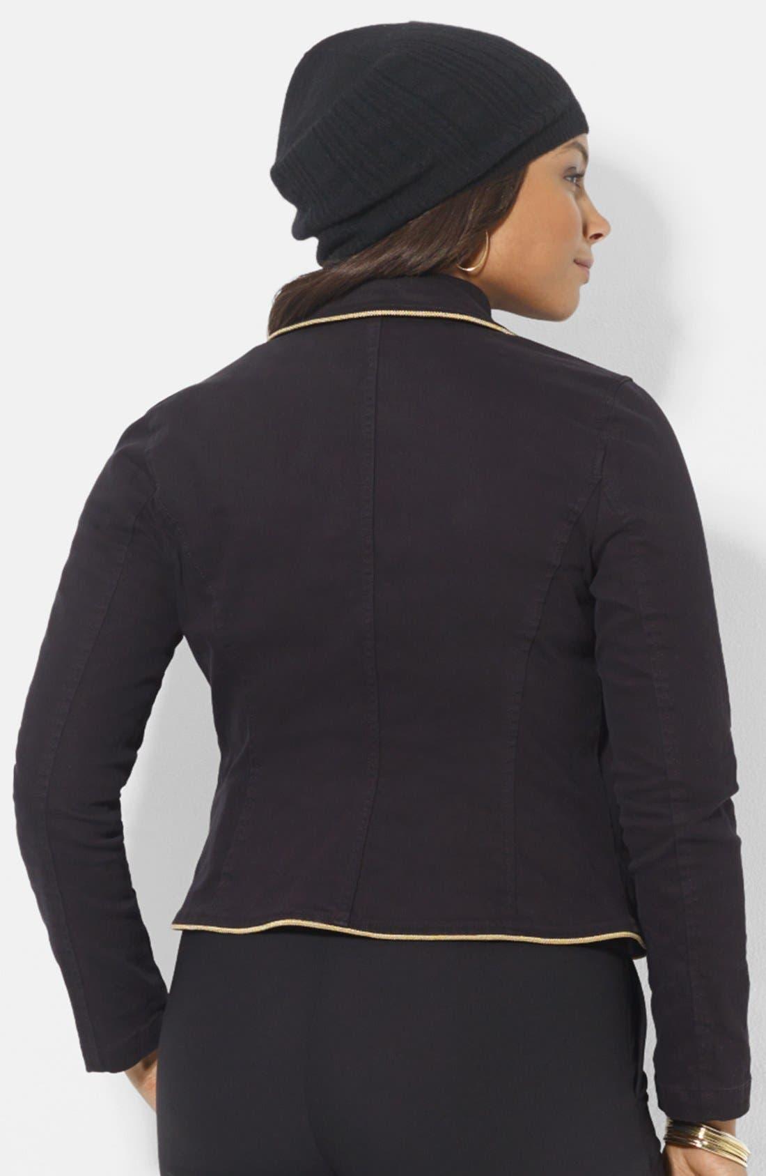 Alternate Image 2  - Lauren Ralph Lauren Contrast Trim Denim Jacket (Plus Size)