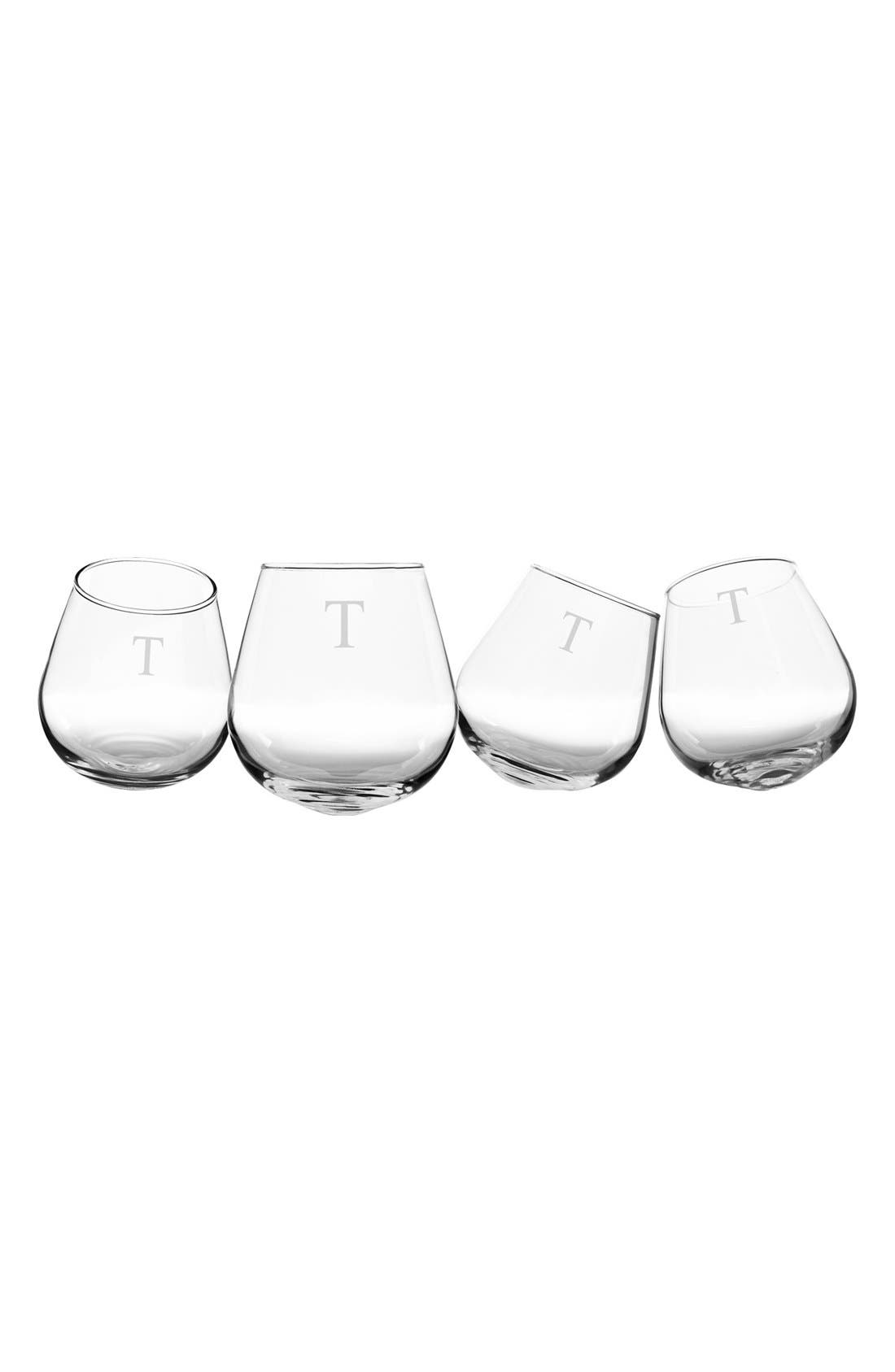 Monogram Tipsy Set of 4 Wine Glasses,                         Main,                         color, Clear T