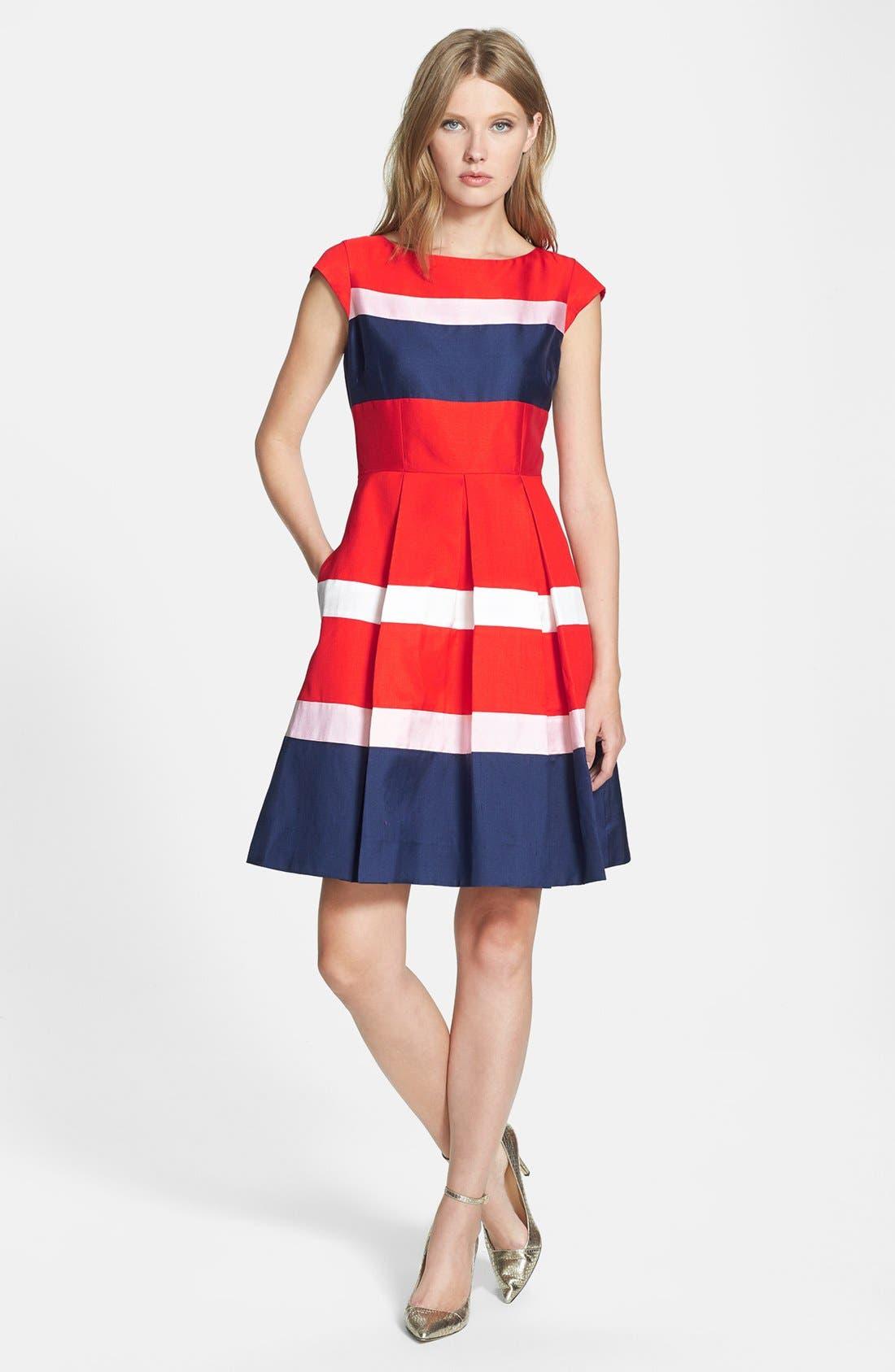 Main Image - kate spade new york 'britta' silk blend fit & flare dress
