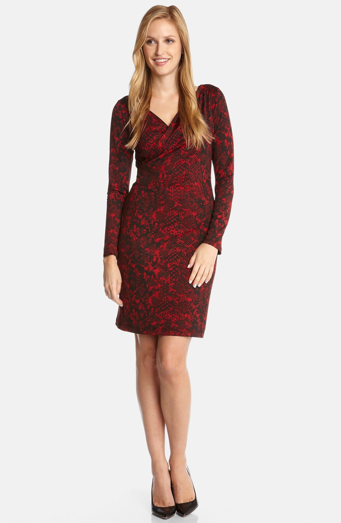 Alternate Image 3  - Karen Kane Python Print Faux Wrap Dress