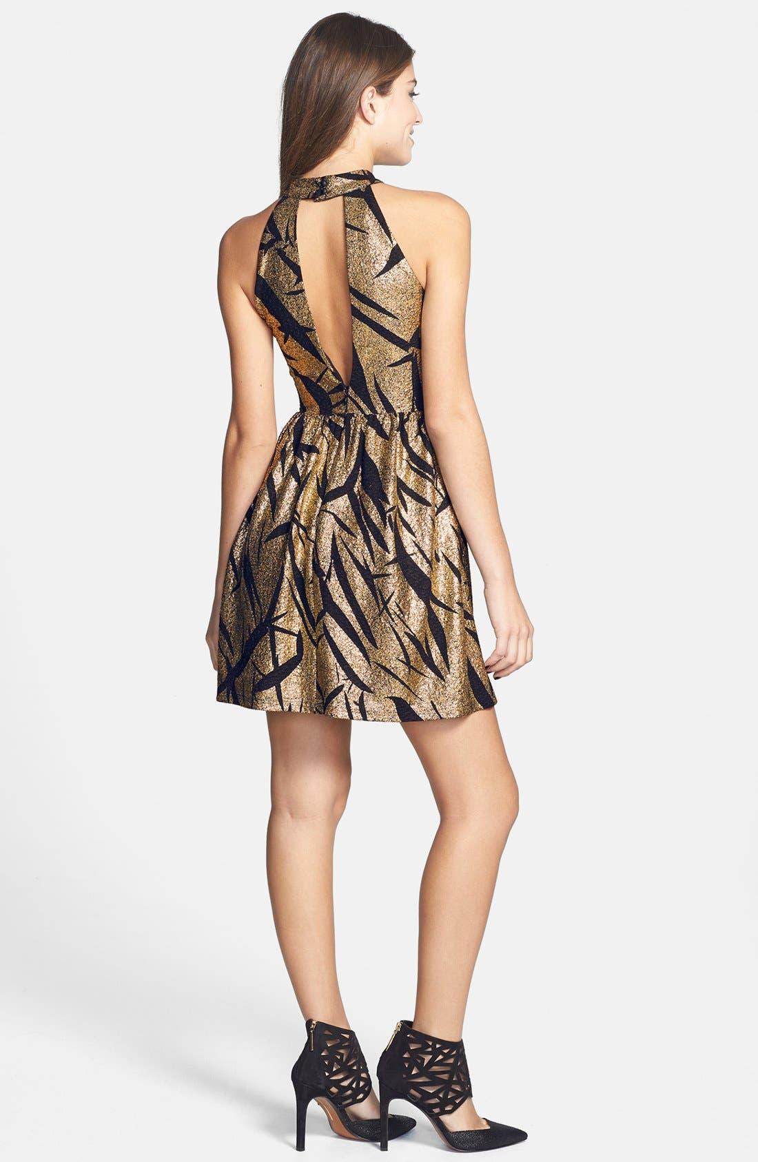 Alternate Image 2  - En Crème Metallic Pattern Cutout Skater Dress (Juniors)