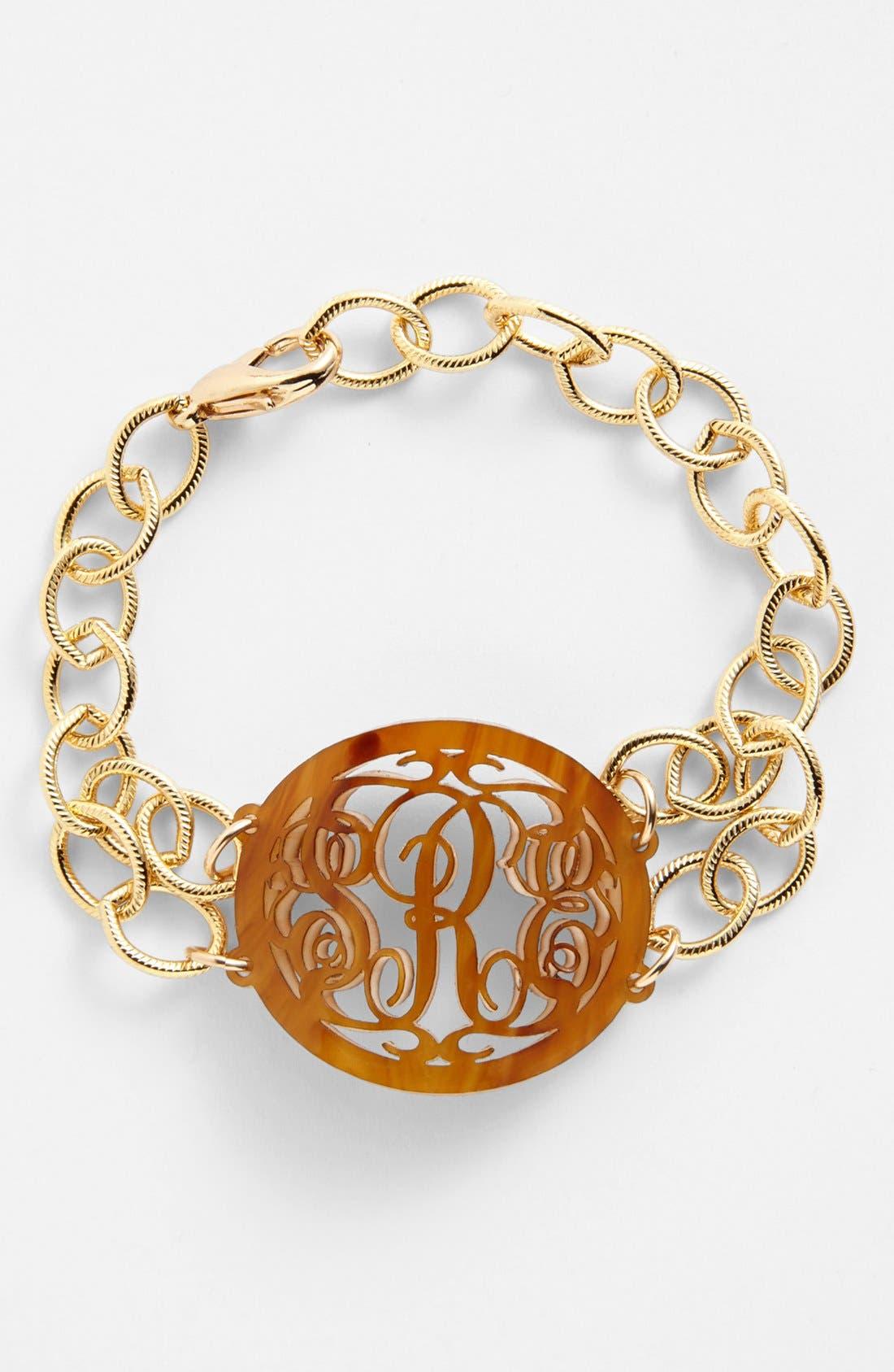 'Annabel' Medium Oval Personalized Monogram Bracelet,                         Main,                         color, Tigers Eye/ Gold