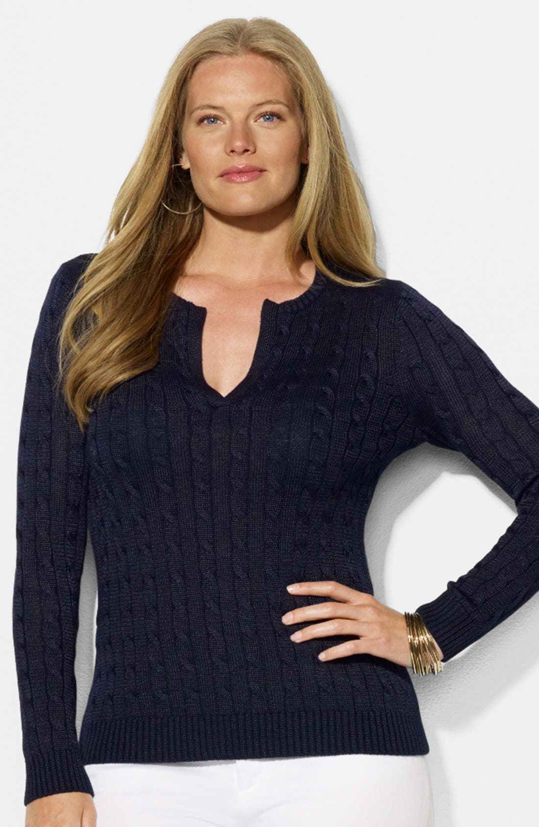 Main Image - Lauren Ralph Lauren Cable Knit Sweater (Plus Size)