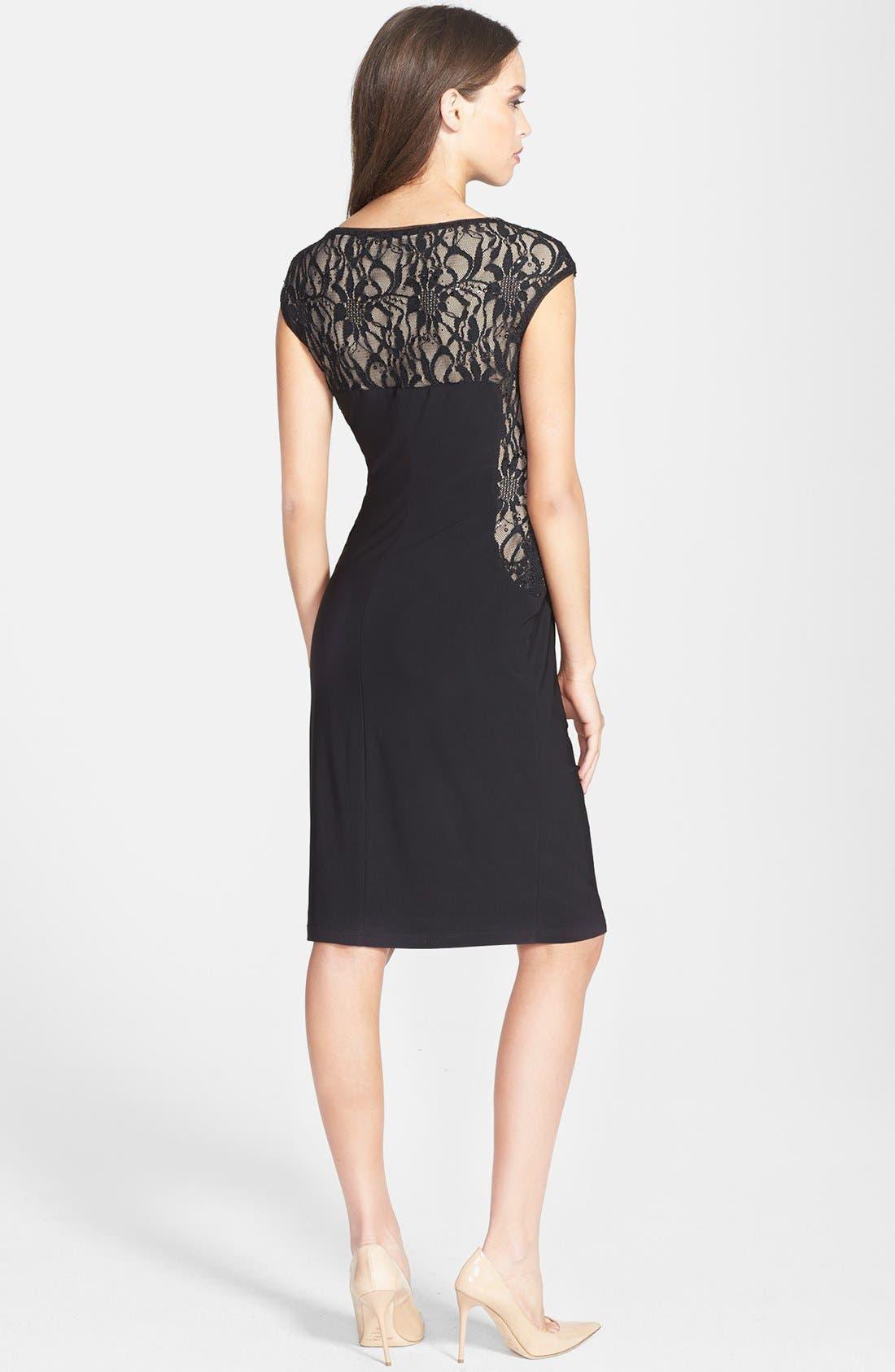 Alternate Image 2  - Lauren Ralph Lauren Lace & Jersey Sheath Dress