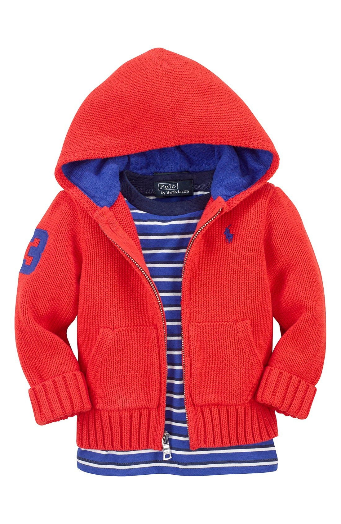 Alternate Image 2  - Ralph Lauren Combed Cotton Full Zip Hoodie Cardigan (Baby Boys)