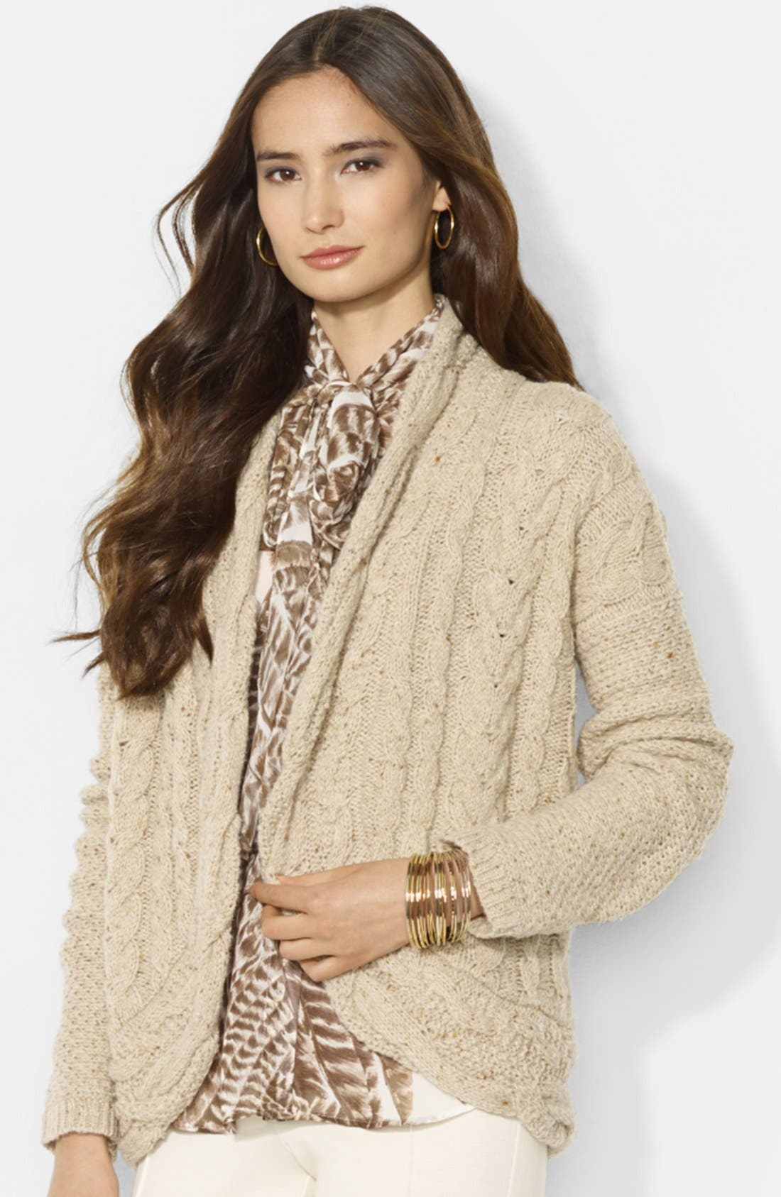Main Image - Lauren Ralph Lauren Shawl Collar Cable Knit Cardigan (Petite)