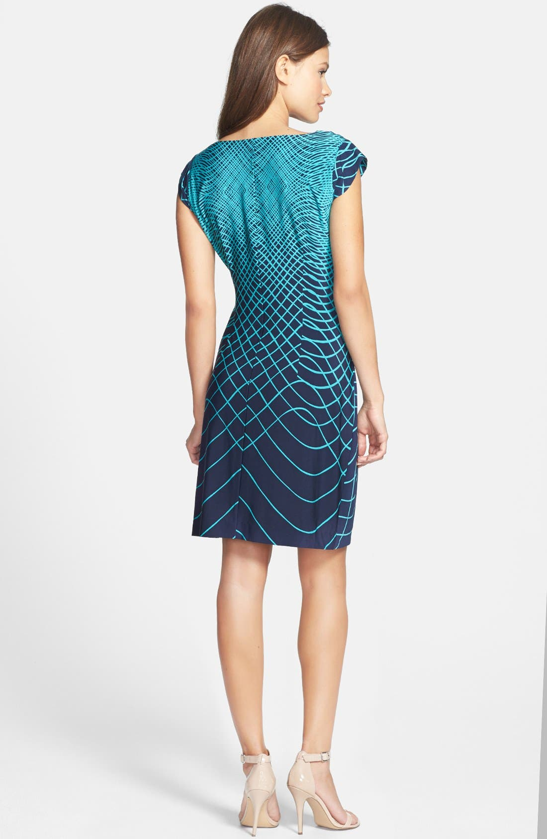 Alternate Image 3  - Taylor Dresses Bow Detail Print Stretch Jersey Sheath Dress (Regular & Petite)