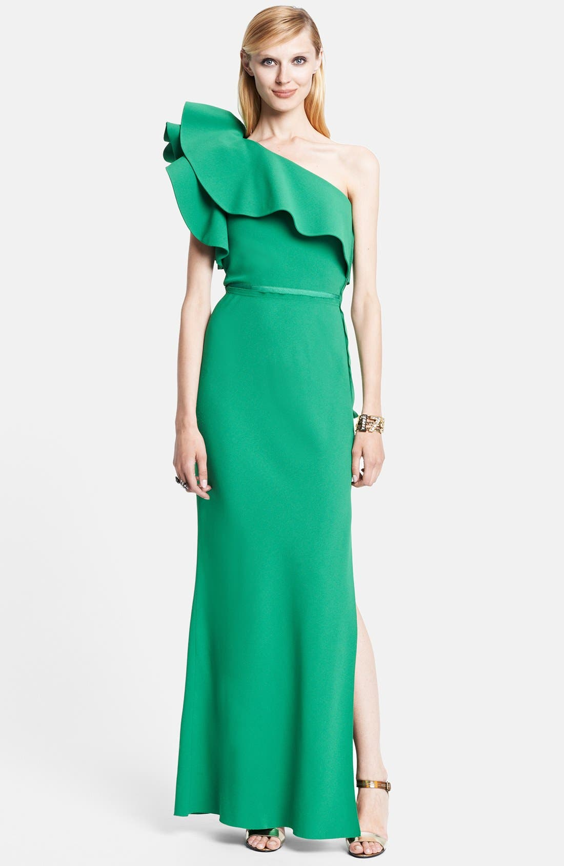Main Image - Lanvin Ruffle Detail One-Shoulder Gown