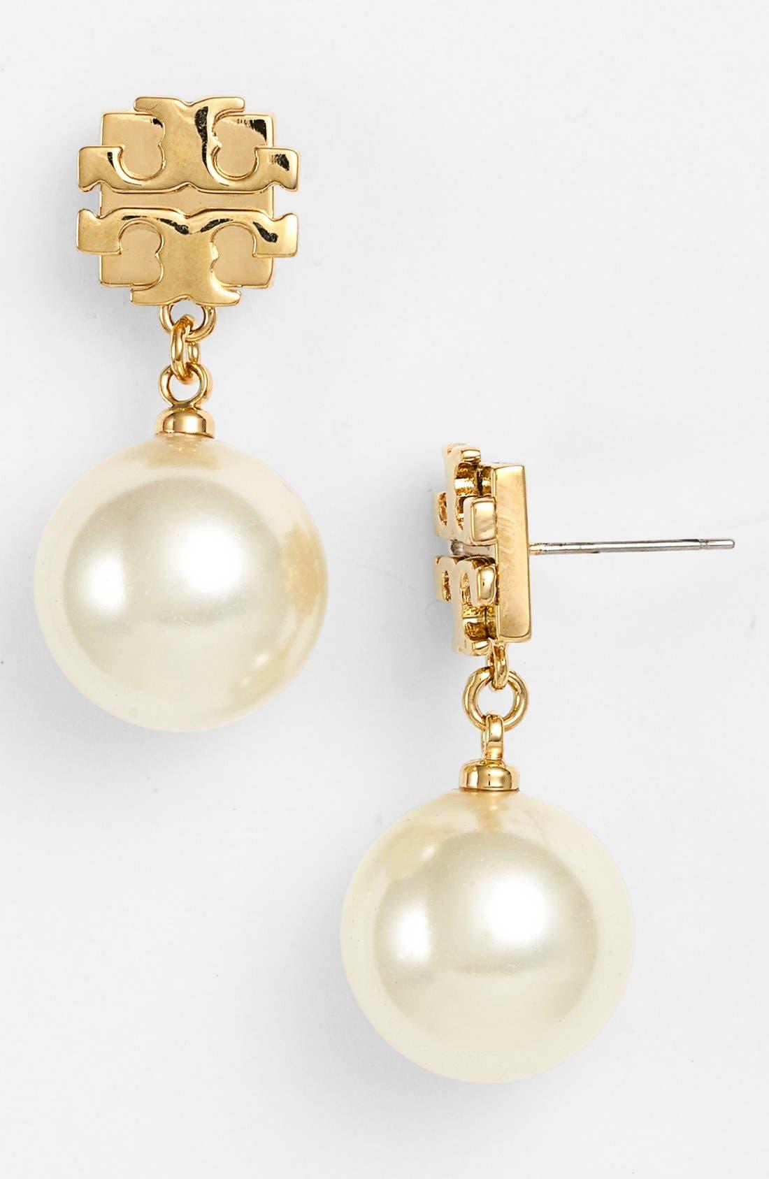 Main Image - Tory Burch 'Evie' Logo Pearl Drop Earrings