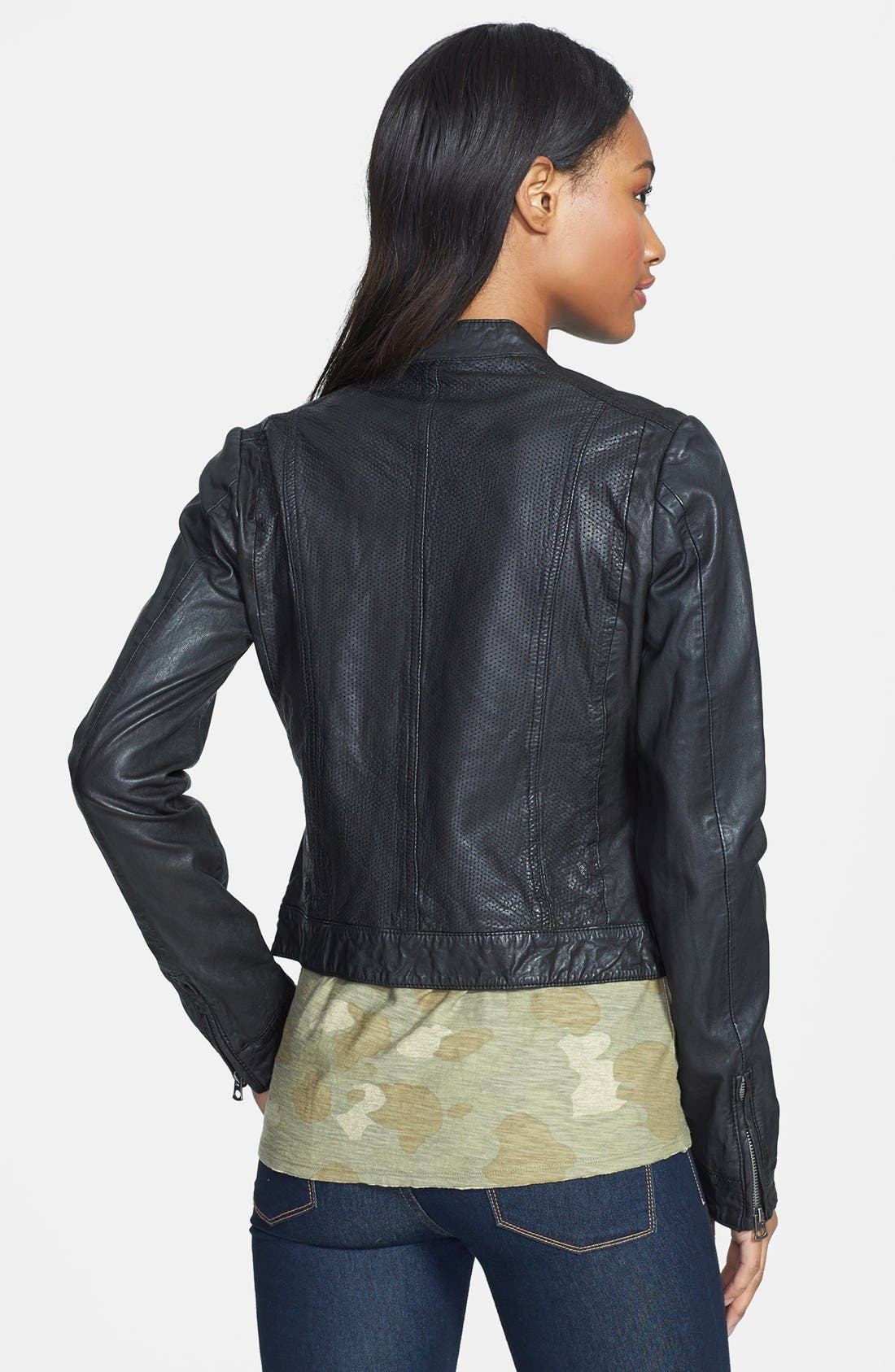 Alternate Image 2  - Lucky Brand 'Carson' Perforated Leather Jacket