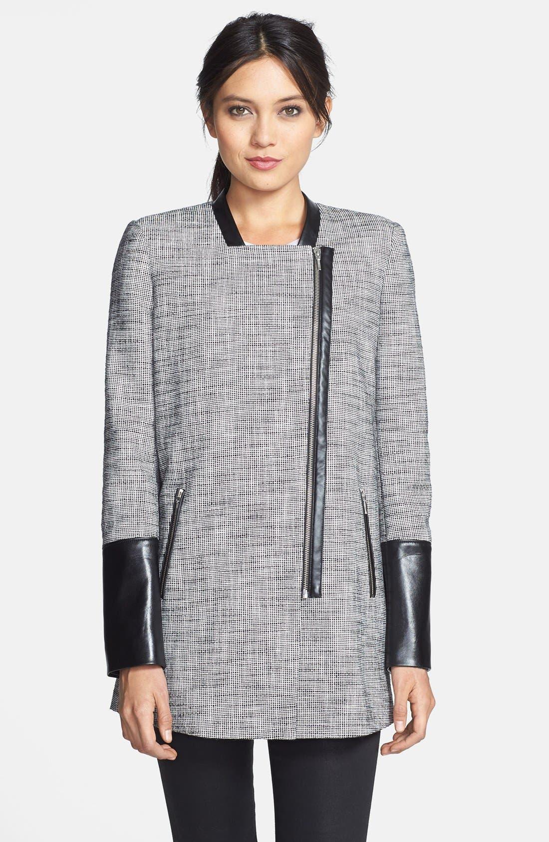 Alternate Image 3  - Trouvé Leather Trim Tweed Coat