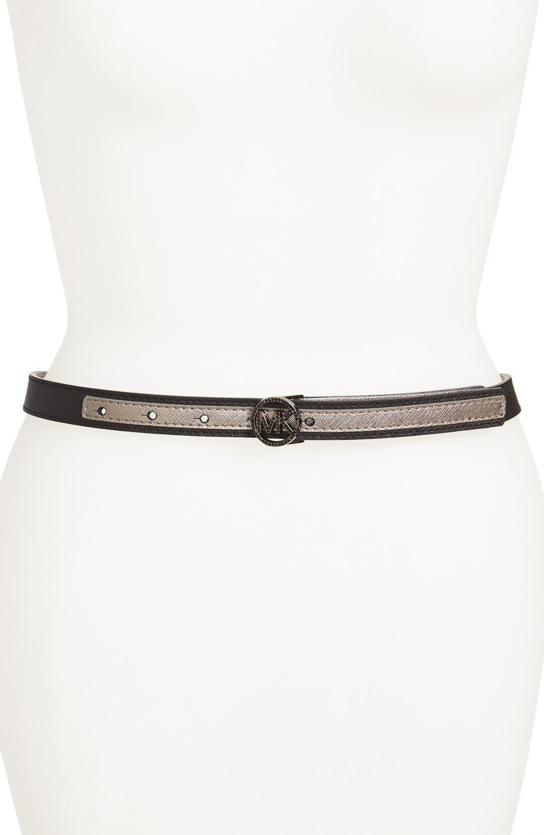 Alternate Image 1 Selected - MICHAEL Michael Kors 'Pavé Logo Buckle' Two-Tone Saffiano Leather Belt