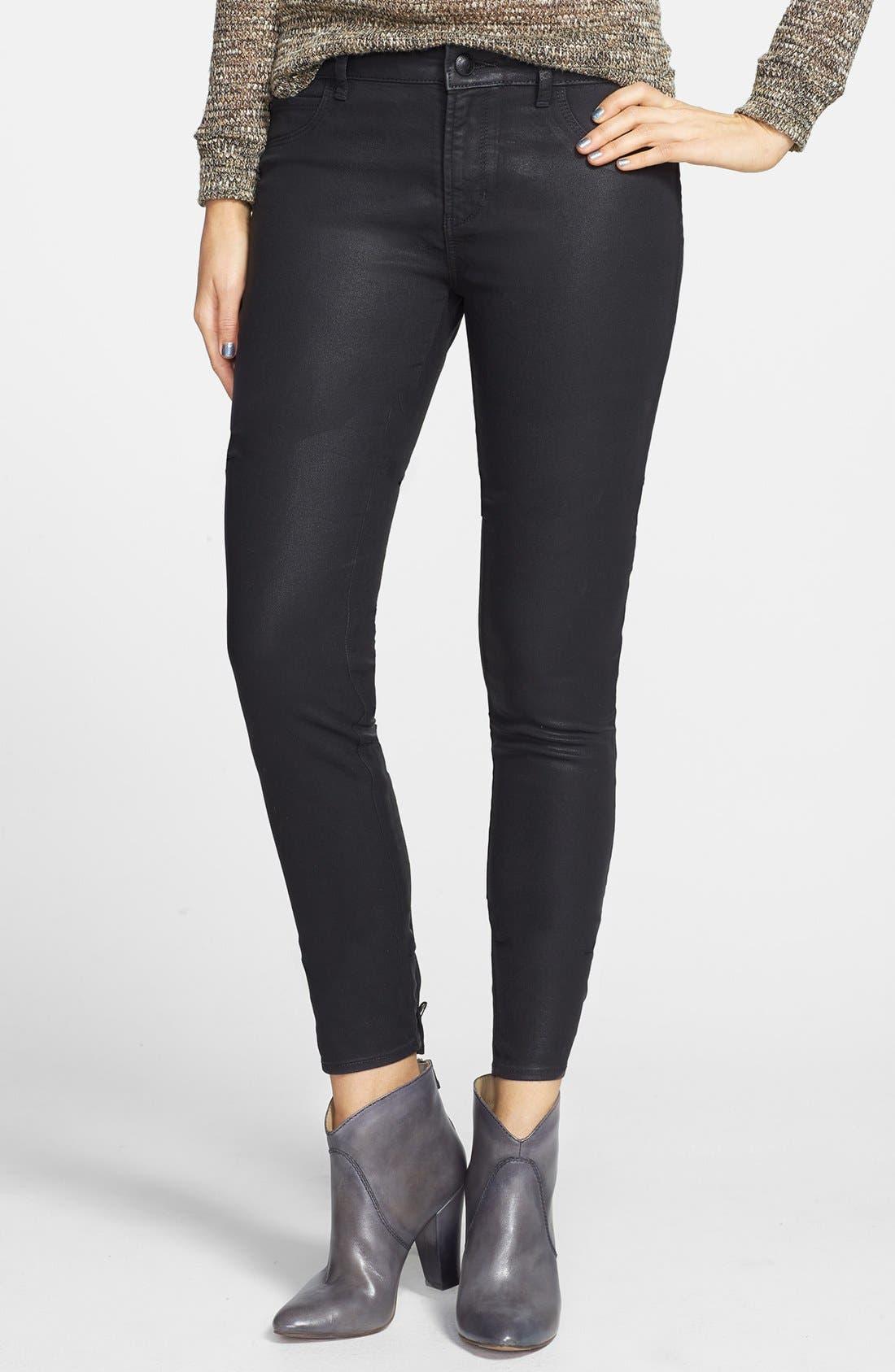 Main Image - Articles of Society 'Mya' Coated Skinny Jeans (Moto)