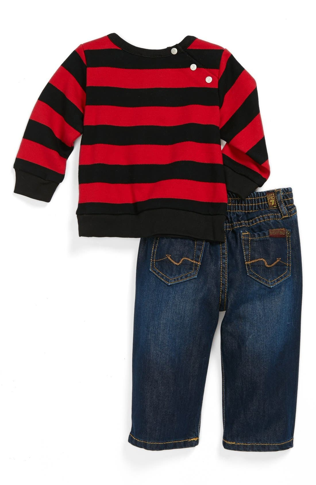 Alternate Image 2  - 7 For All Mankind® Dark Wash Jeans & Stripe Top (Baby Boys)