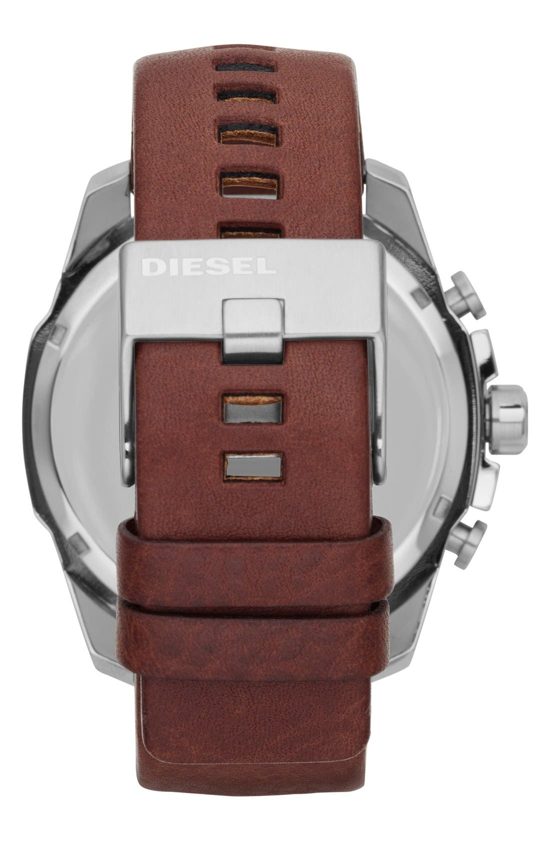 'Mega Chief' Leather Strap Watch, 51mm,                             Alternate thumbnail 2, color,                             Brown/ Silver