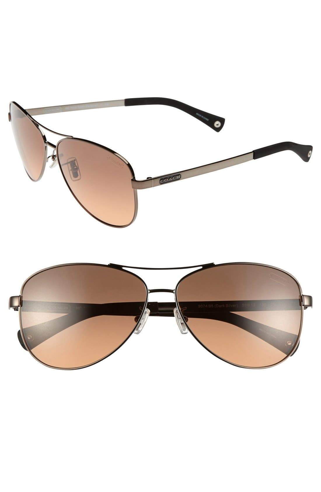 Alternate Image 1 Selected - COACH 59mm Aviator Sunglasses