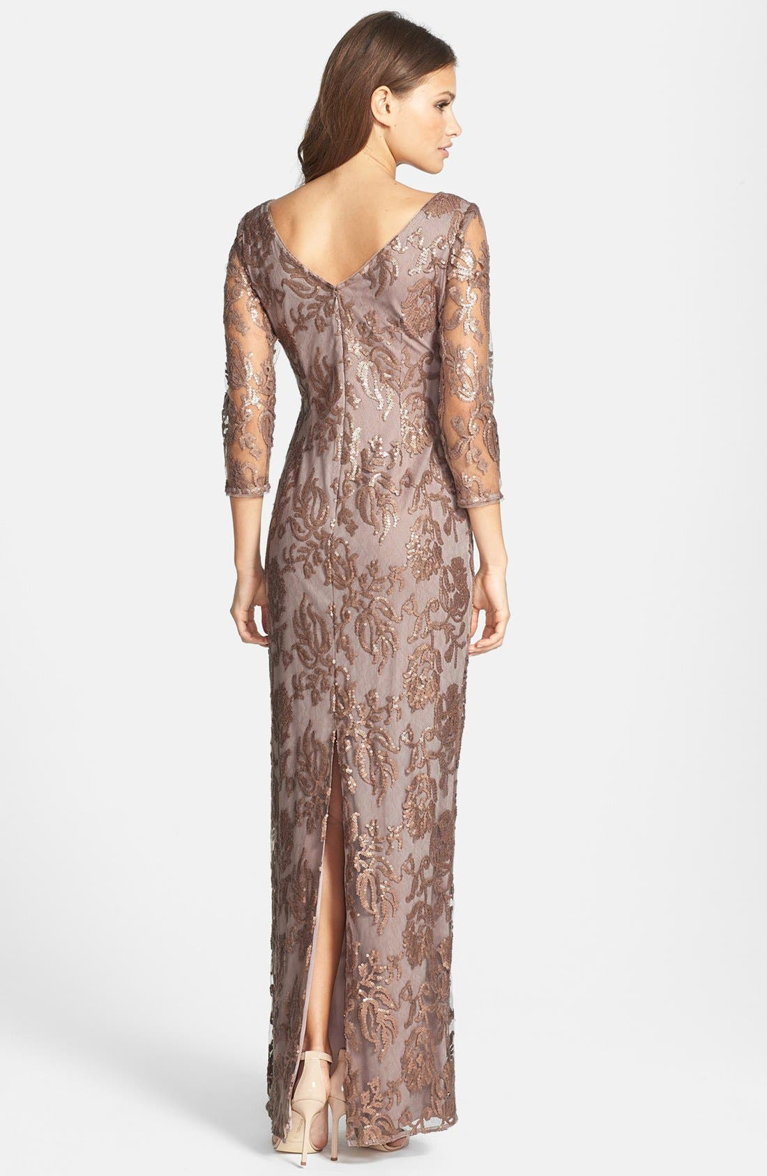 Alternate Image 2  - Adrianna Papell Sequin Embroidered Lace Column Gown