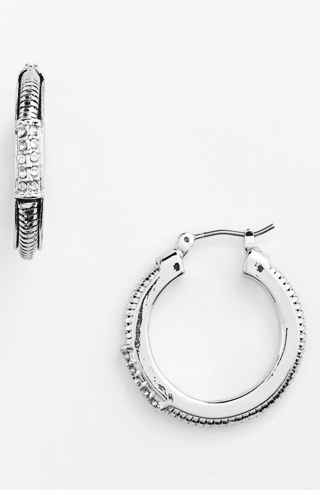 Alternate Image 1 Selected - Anne Klein Snake Chain Hoop Earrings