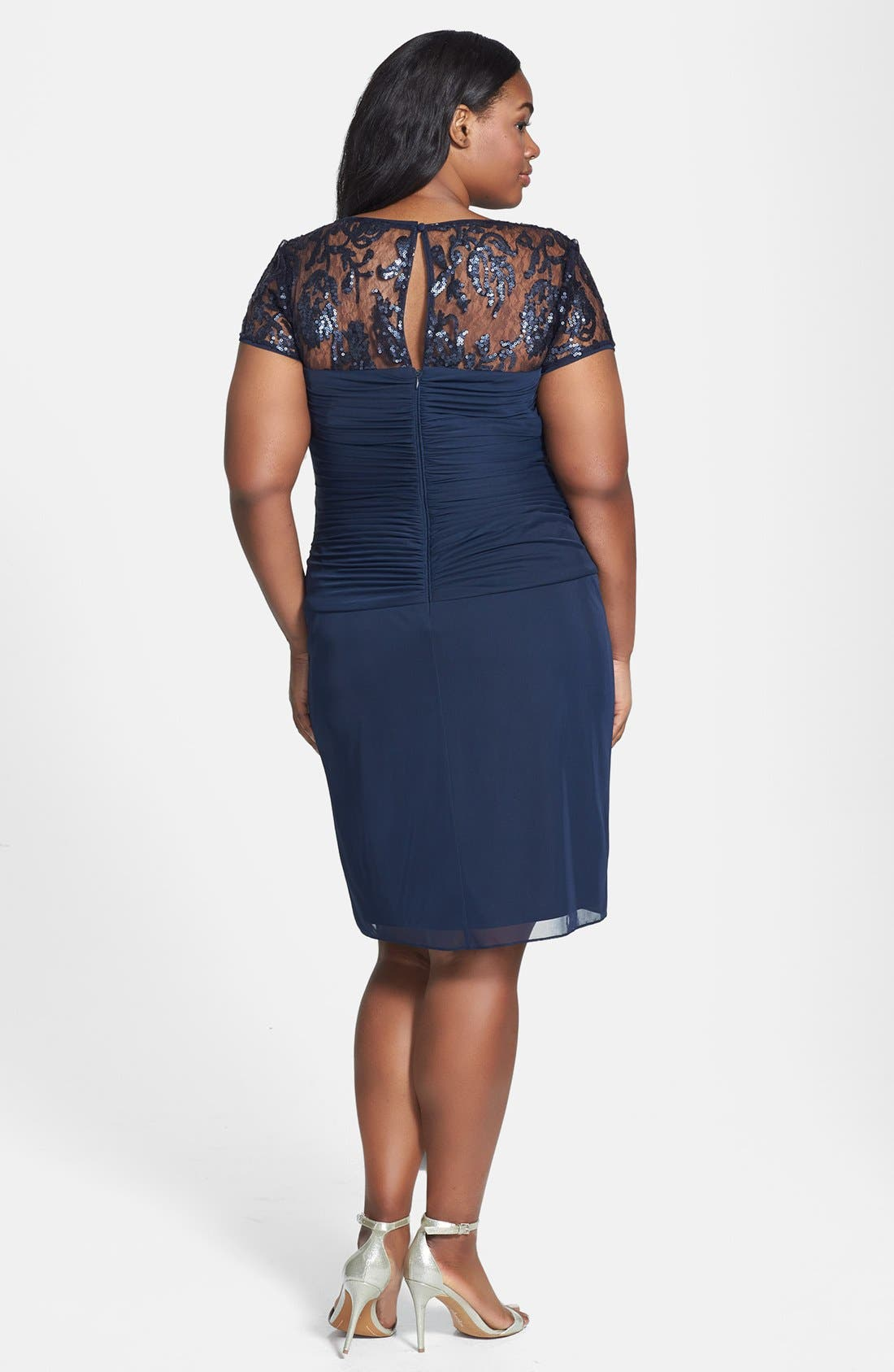 Alternate Image 2  - Adrianna Papell Embellished Lace Yoke Knotted Tulle Dress (Plus Size)