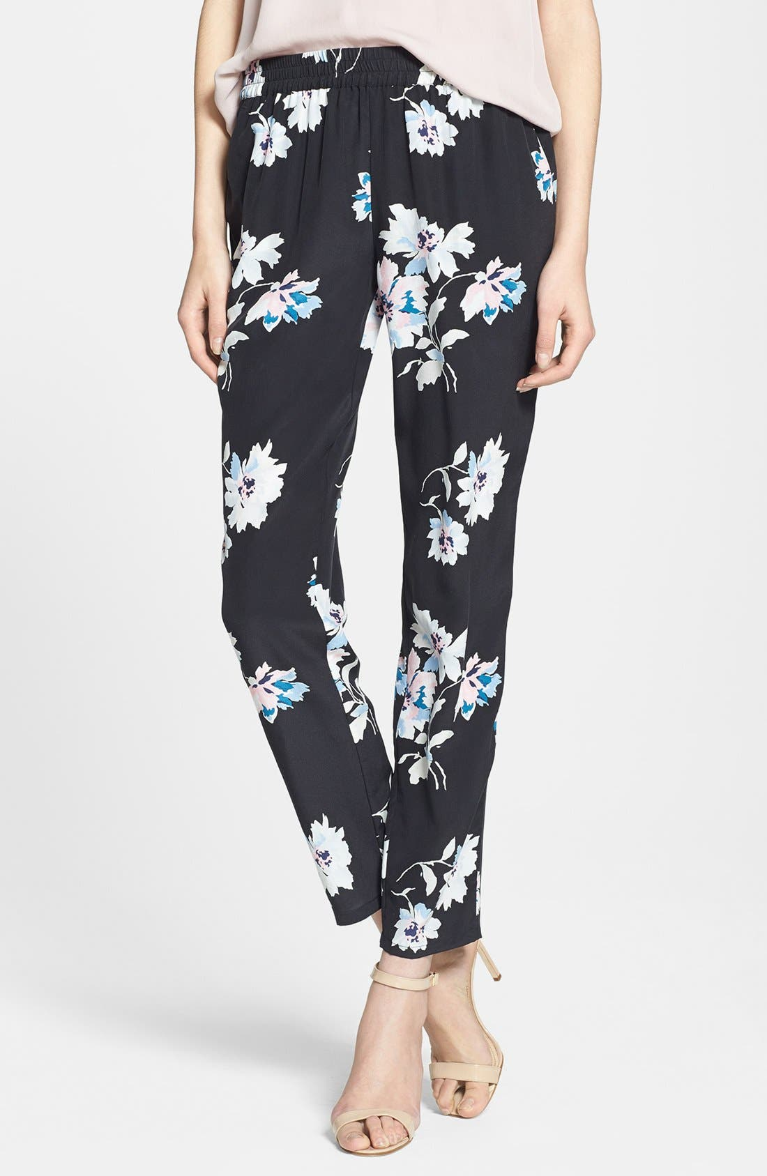 Alternate Image 1 Selected - Joie 'Talina B' Floral Print Silk Pants