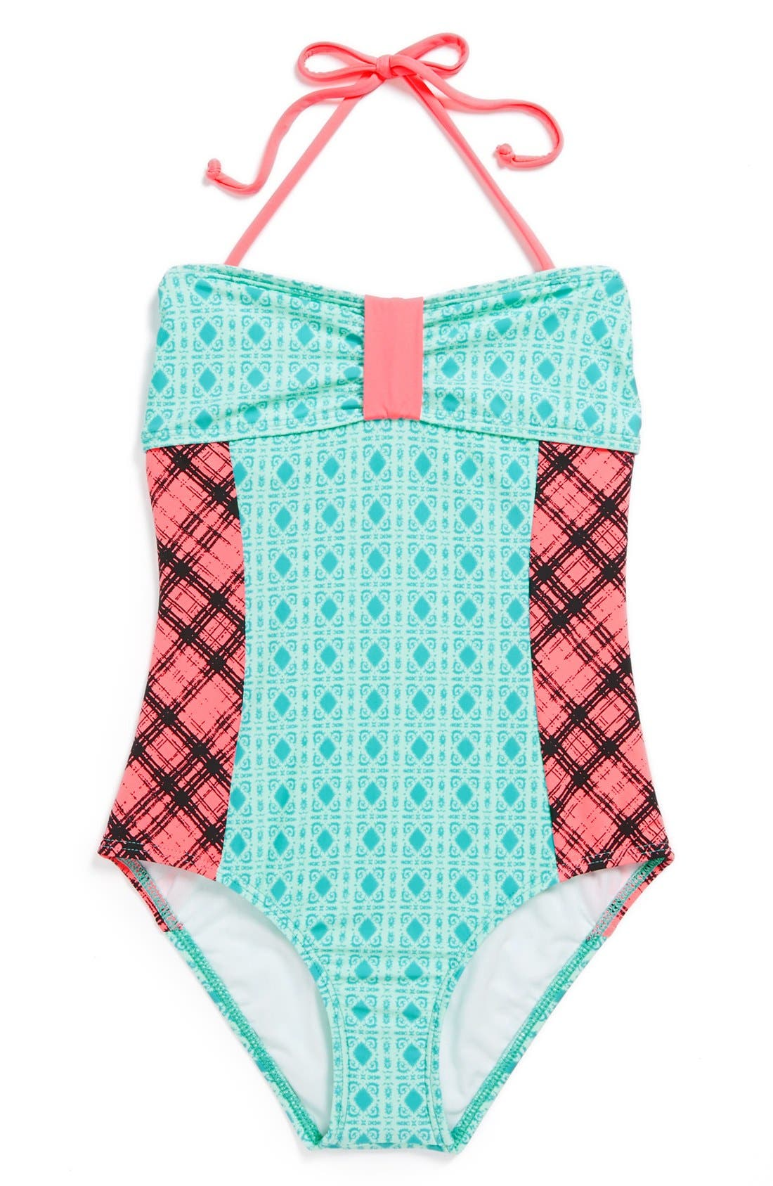 Alternate Image 1 Selected - Ella Moss Mixed Print One-Piece Swimsuit (Big Girls)