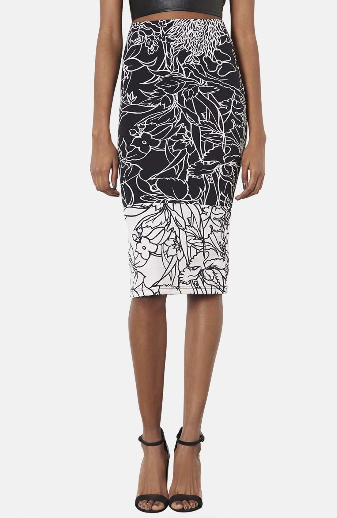 Main Image - Topshop 'Pen Garden' Floral Print Tube Skirt