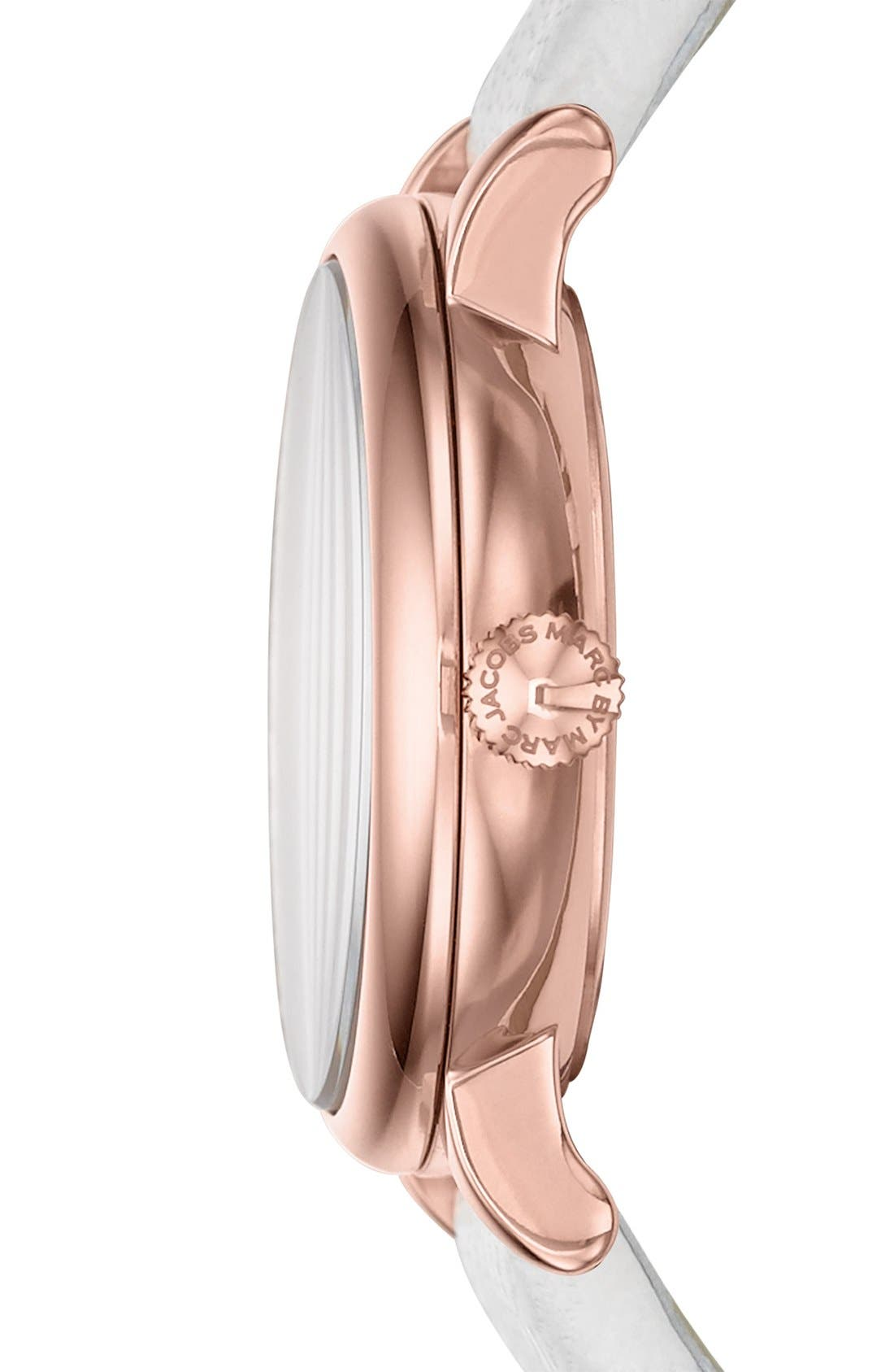 Alternate Image 3  - MARC JACOBS 'Baker' Round Leather Strap Watch, 28mm