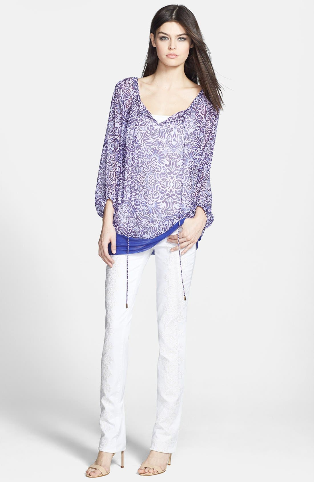 Alternate Image 4  - Rachel Roy Embroidered Stretch Cotton Skinny Jeans (Natural White)