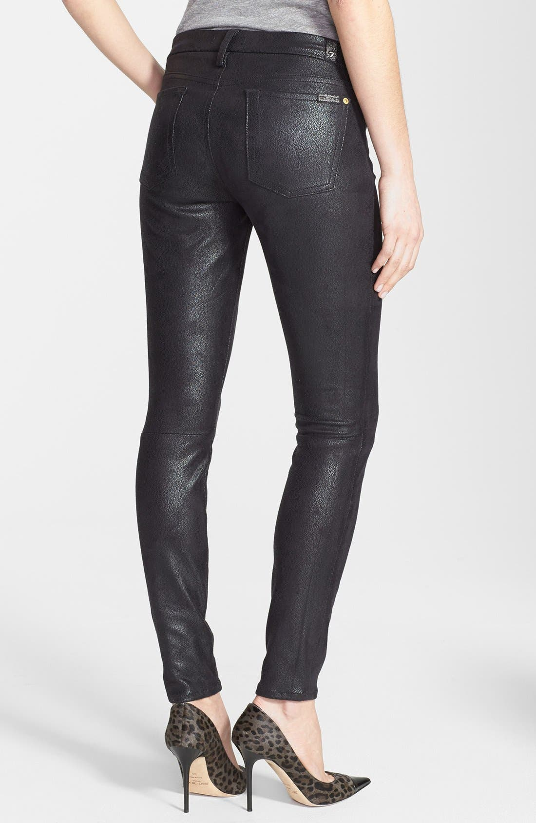Alternate Image 2  - 7 For All Mankind® 'The Skinny' High Rise Faux Leather Skinny Pants (Black)