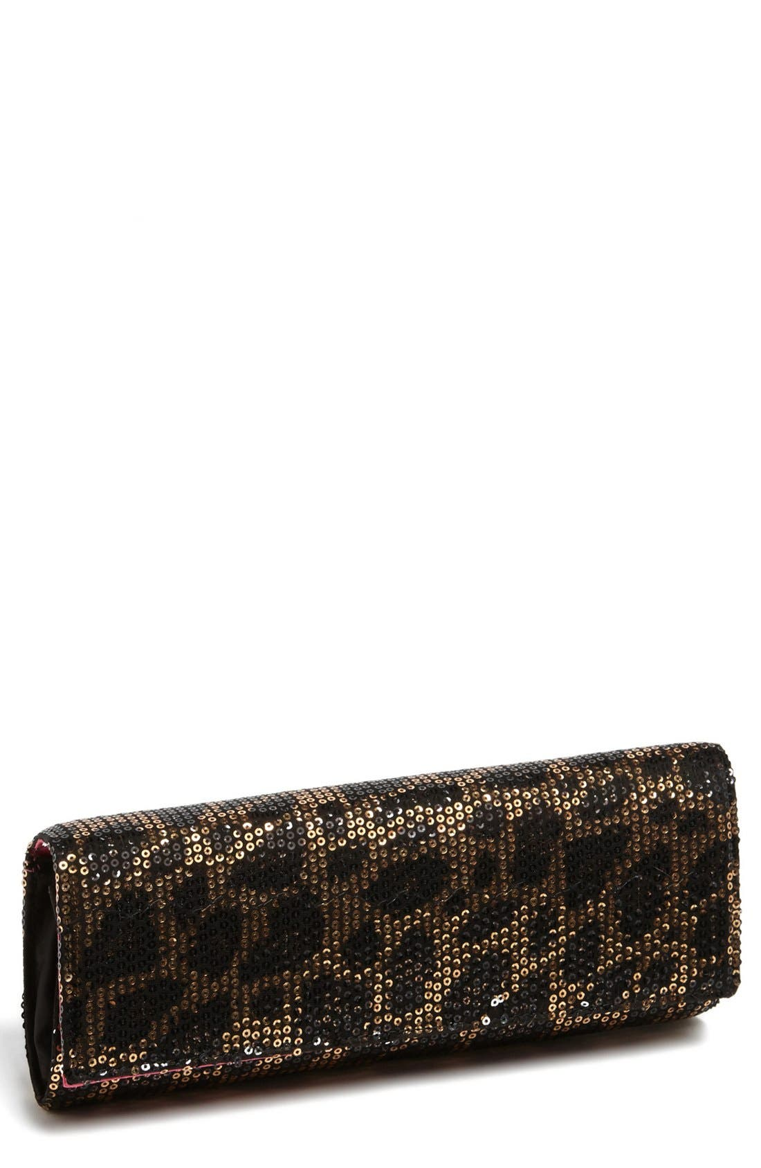 Alternate Image 1 Selected - Betsey Johnson Sequin Leopard Clutch