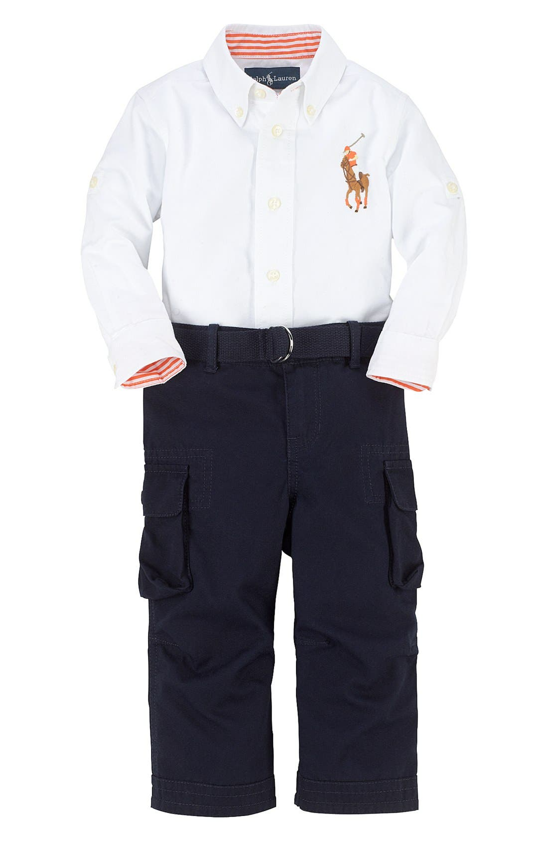 Alternate Image 1 Selected - Ralph Lauren Woven Shirt & Cargo Pants (Baby Boys)