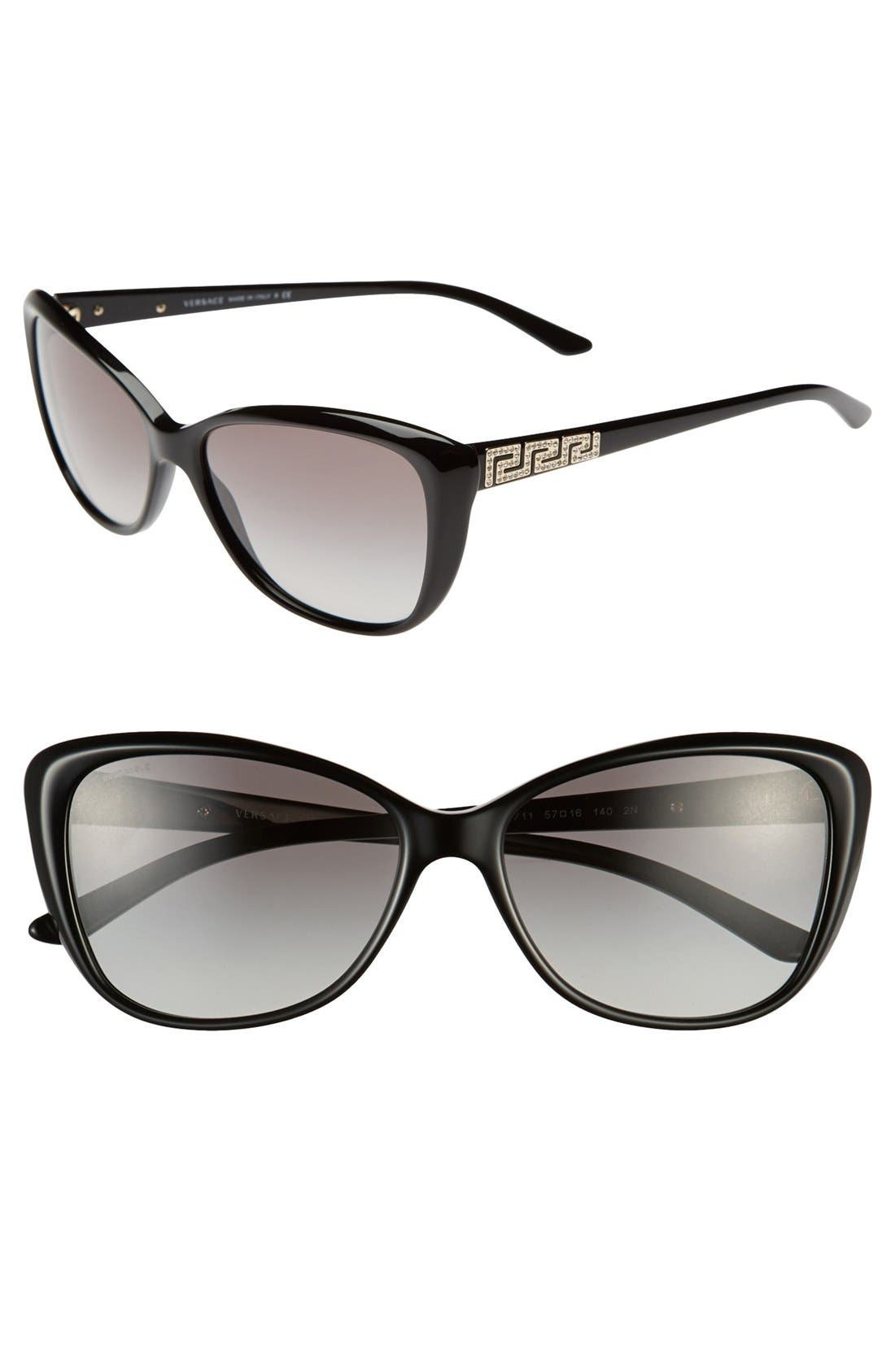 'Rock Icons - Greca' 57mm Butterfly Sunglasses,                         Main,                         color, Black