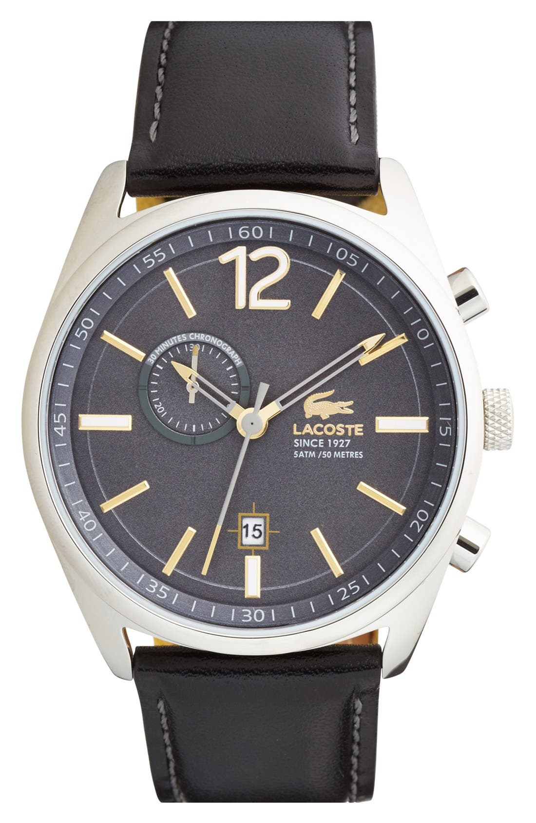 'Austin' Chronograph Leather Strap Watch, 44mm,                             Main thumbnail 1, color,                             Black/ Grey