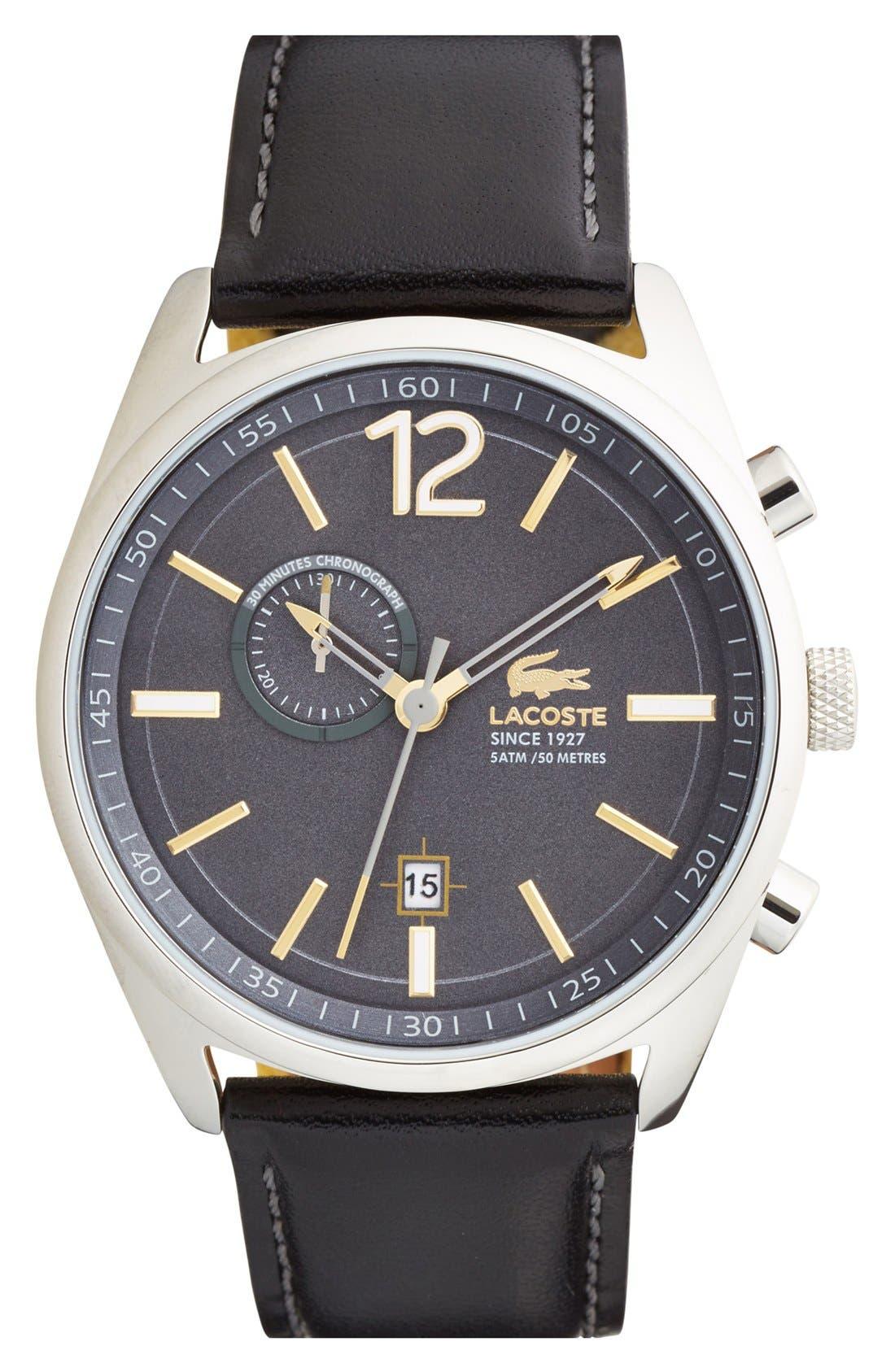 'Austin' Chronograph Leather Strap Watch, 44mm,                         Main,                         color, Black/ Grey