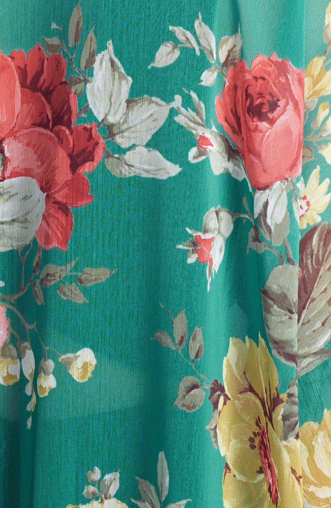 'Marie' Floral Chiffon Cardigan,                             Alternate thumbnail 3, color,                             Jade