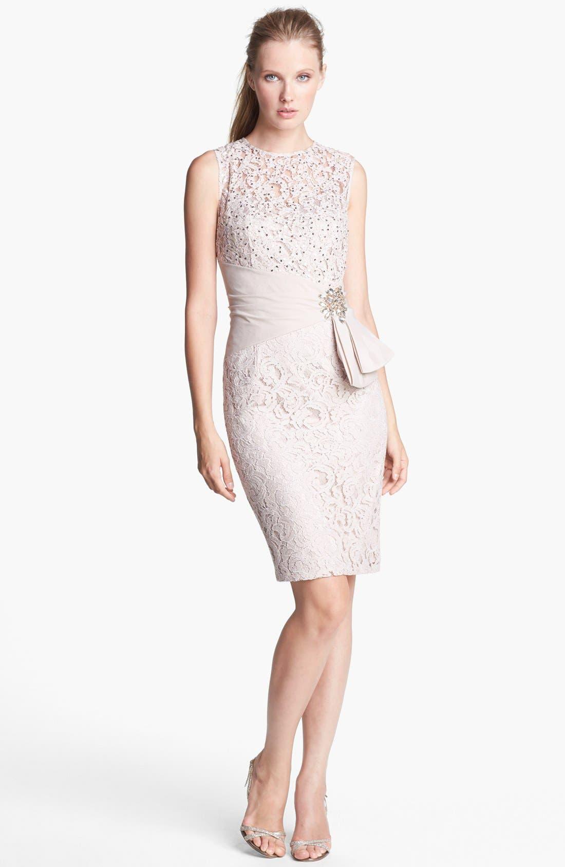 Main Image - Eliza J Embellished Lace Sheath Dress (Petite)