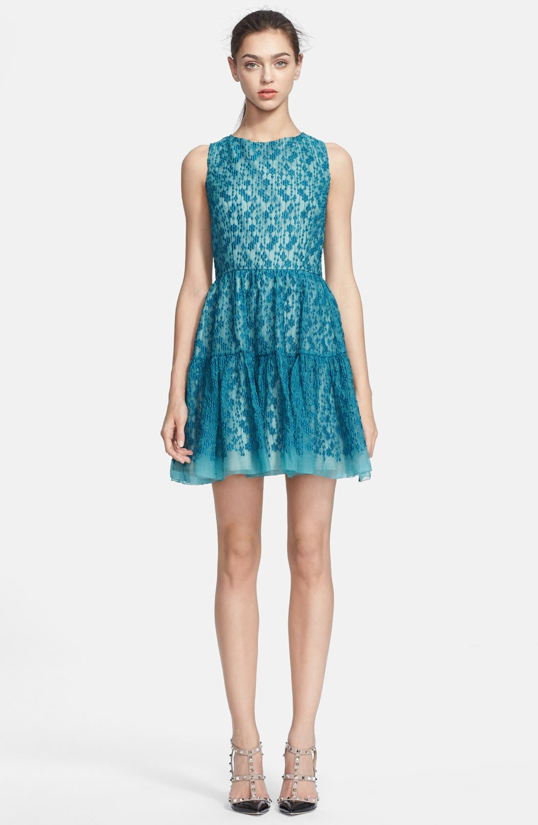 Main Image - RED Valentino Embroidered Silk Organza Dress