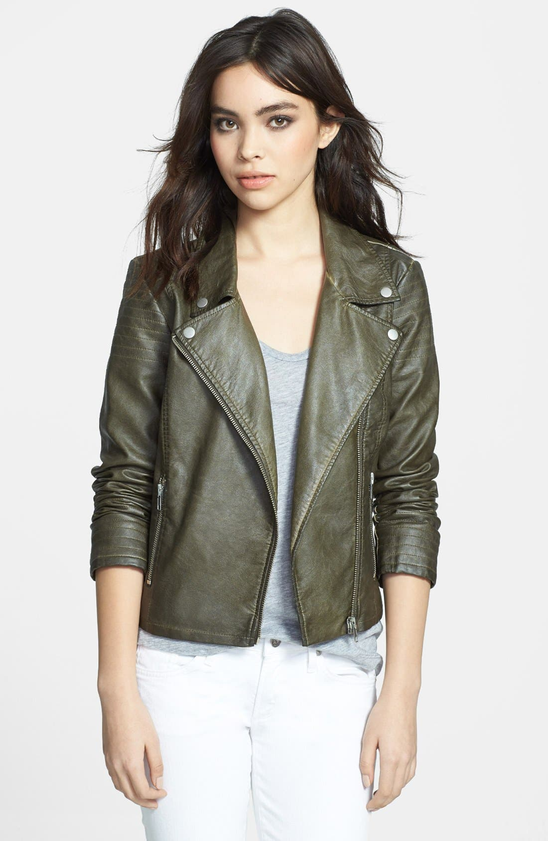 Alternate Image 1 Selected - BB Dakota 'Dita' Faux Leather Moto Jacket