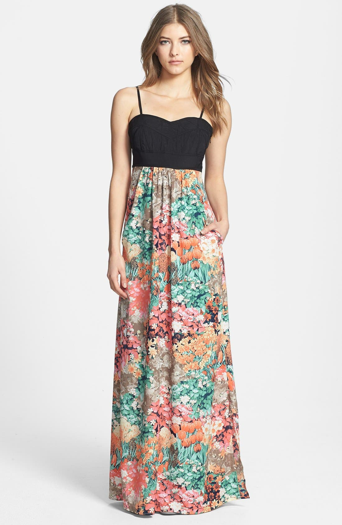 Alternate Image 1 Selected - MM Couture Floral Print Skirt Maxi Dress