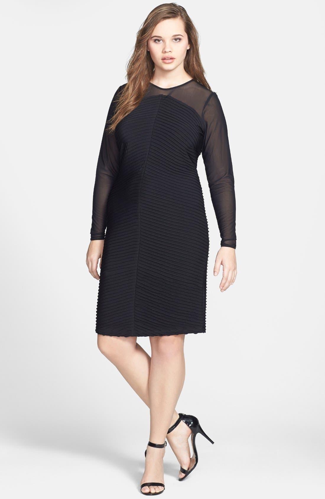 Alternate Image 1 Selected - Calvin Klein Illusion Yoke & Sleeve Matte Jersey Sheath Dress (Plus Size)