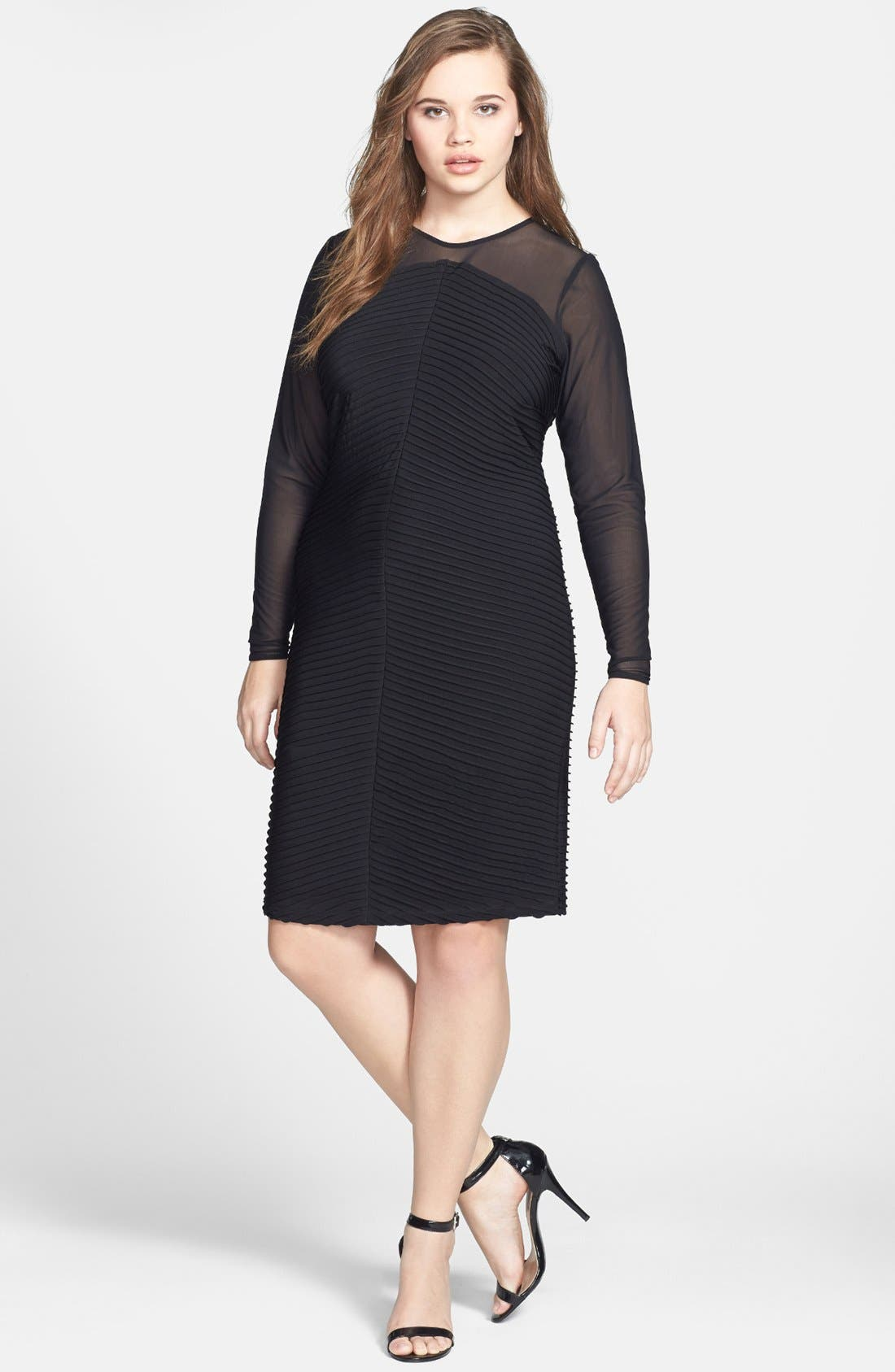 Main Image - Calvin Klein Illusion Yoke & Sleeve Matte Jersey Sheath Dress (Plus Size)