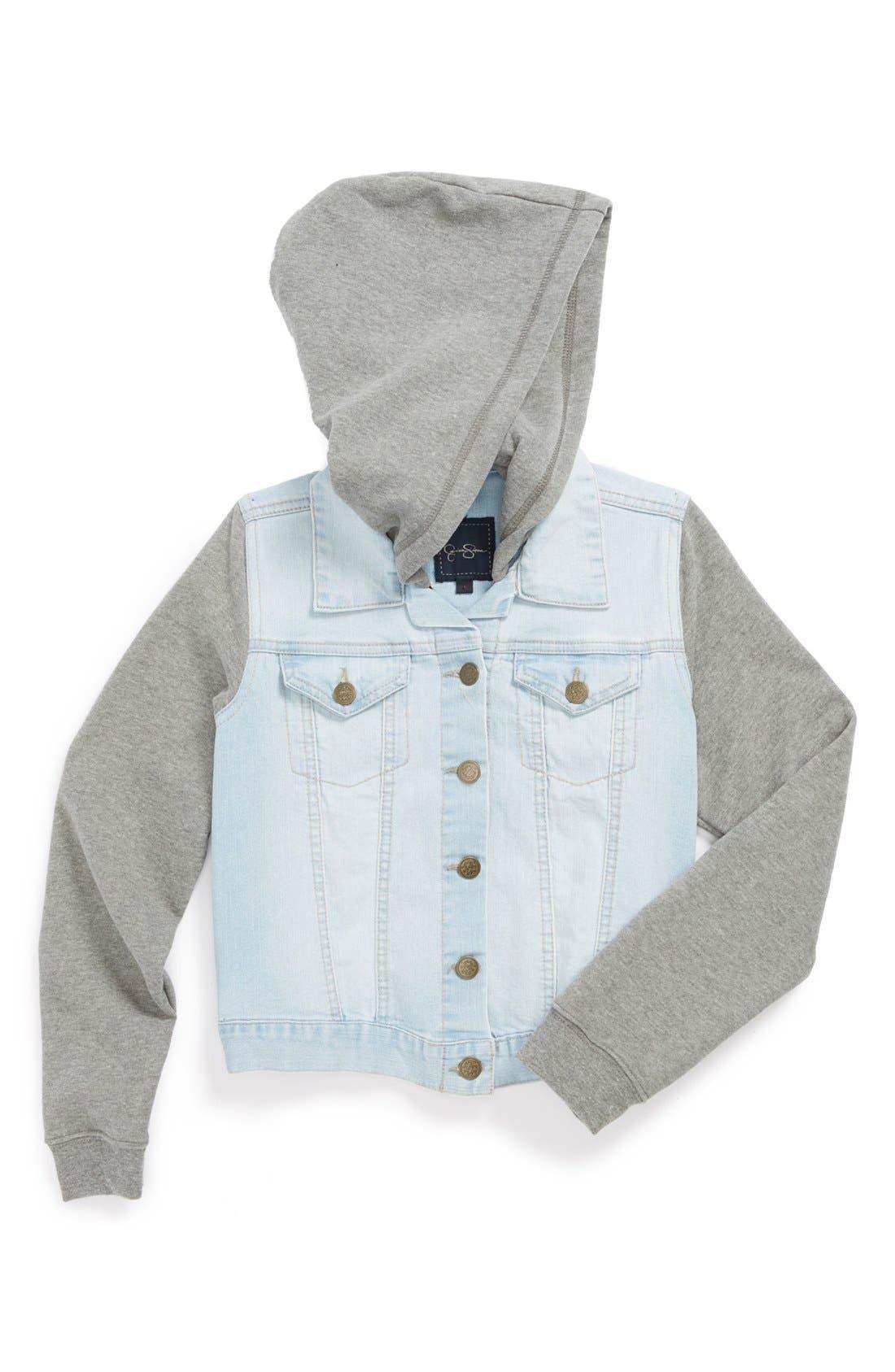 Alternate Image 1 Selected - Jessica Simpson 'Pixie' Knit & Denim Jacket (Big Girls)