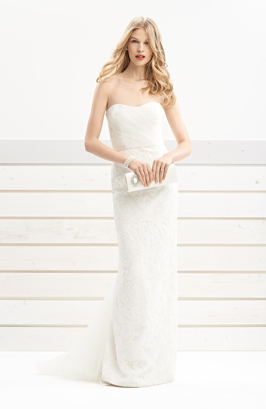 Alternate Image 3  - BLISS Monique Lhuillier Embroidered Lace Gown with Detachable Tulle Overskirt