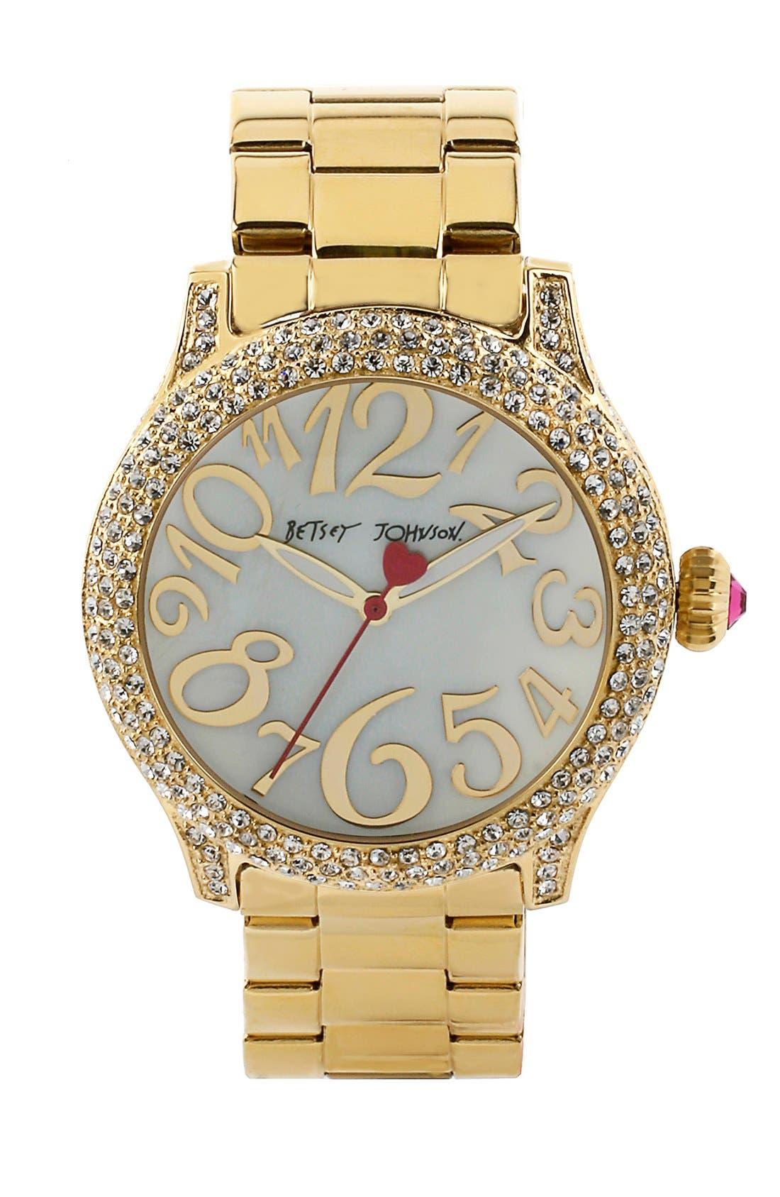 Main Image - Betsey Johnson Pavé Case Bracelet Watch, 41mm