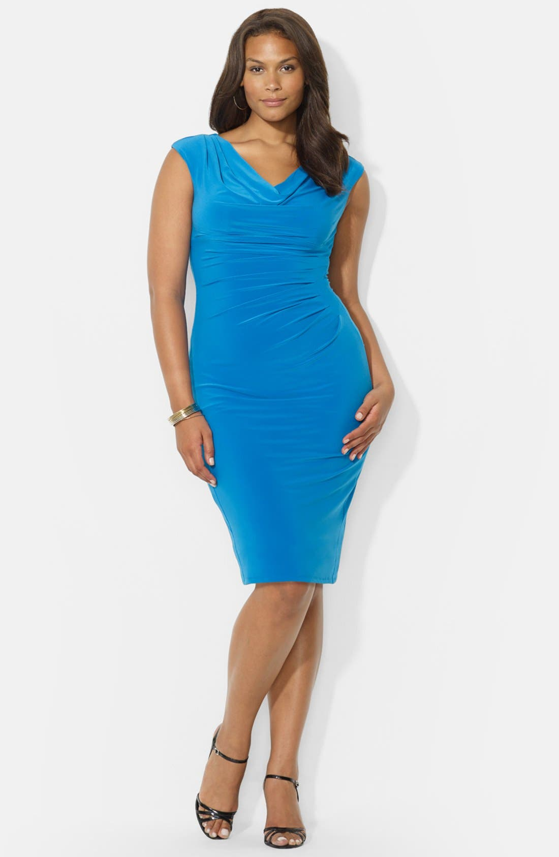 Main Image - Lauren Ralph Lauren Cowl Neck Jersey Dress (Plus Size)